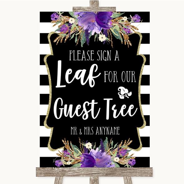 Black & White Stripes Purple Guest Tree Leaf Personalised Wedding Sign