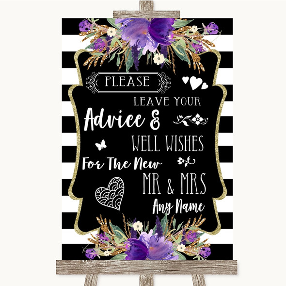 Black & White Stripes Purple Guestbook Advice & Wishes Mr & Mrs Wedding Sign