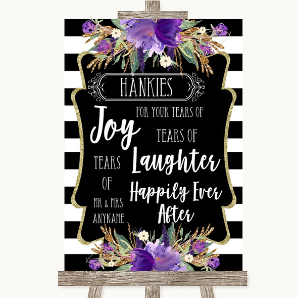 Black & White Stripes Purple Hankies And Tissues Personalised Wedding Sign
