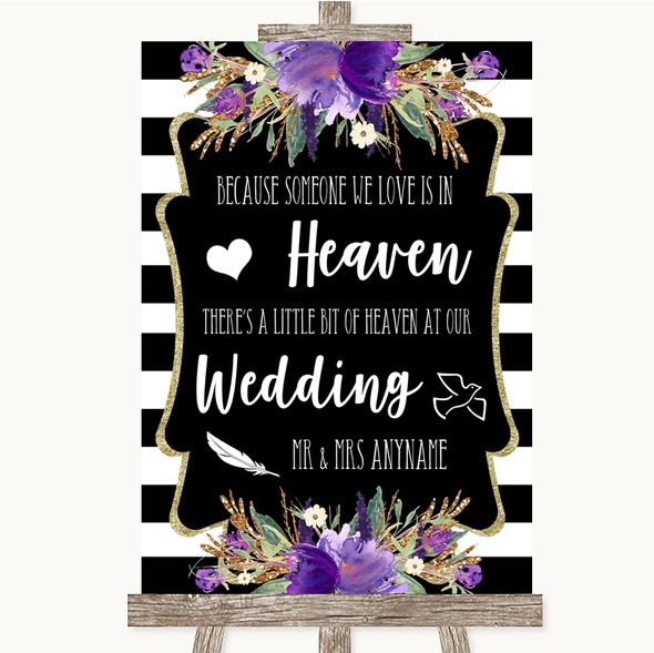 Black & White Stripes Purple Heaven Loved Ones Personalised Wedding Sign