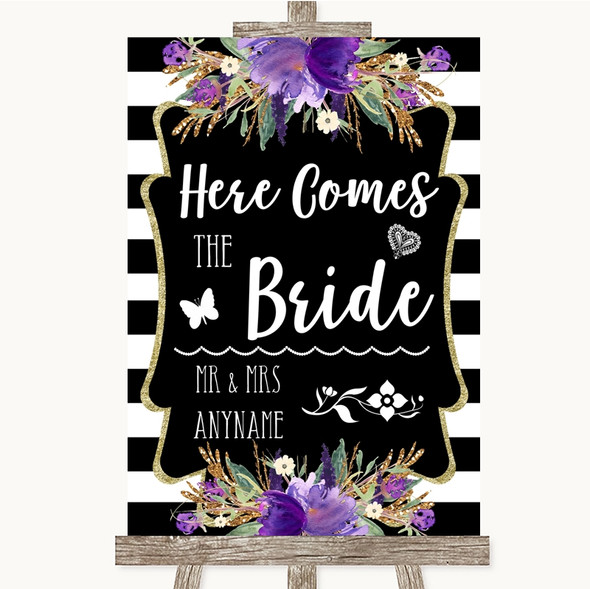 Black & White Stripes Purple Here Comes Bride Aisle Personalised Wedding Sign