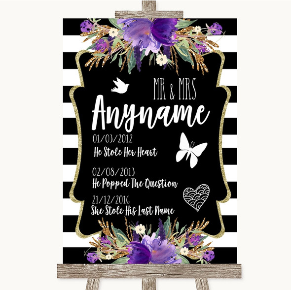 Black & White Stripes Purple Important Special Dates Personalised Wedding Sign
