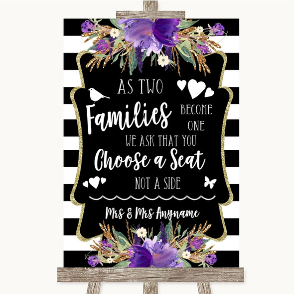 Black & White Stripes Purple As Families Become One Seating Plan Wedding Sign