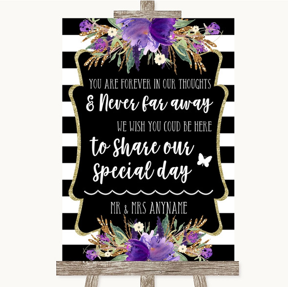 Black & White Stripes Purple In Our Thoughts Personalised Wedding Sign