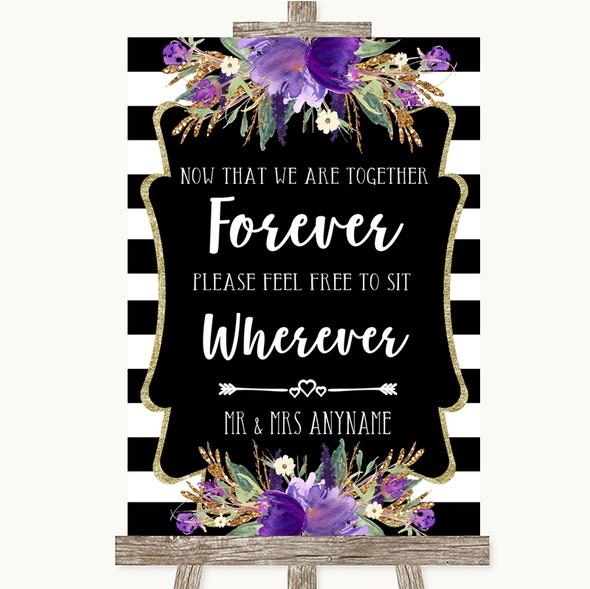 Black & White Stripes Purple Informal No Seating Plan Personalised Wedding Sign
