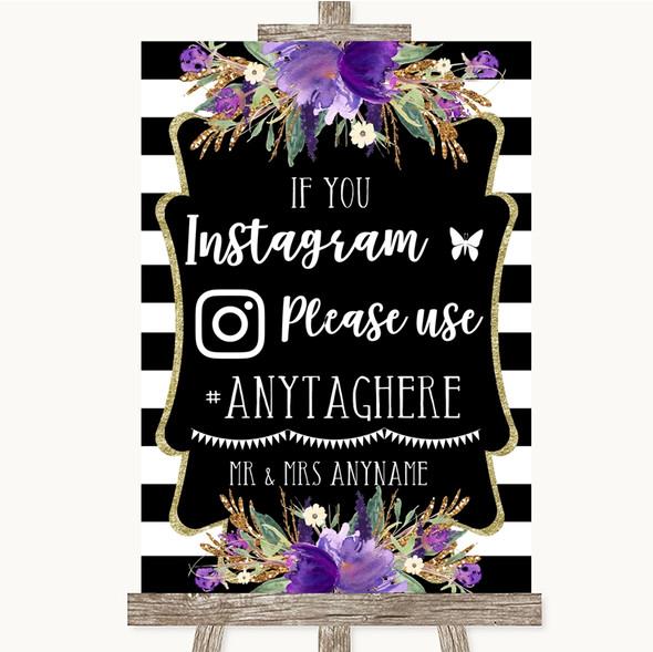 Black & White Stripes Purple Instagram Hashtag Personalised Wedding Sign
