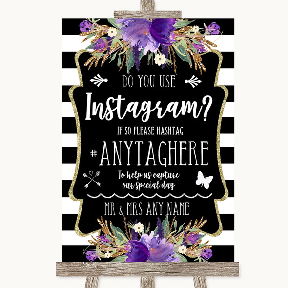 Black & White Stripes Purple Instagram Photo Sharing Personalised Wedding Sign