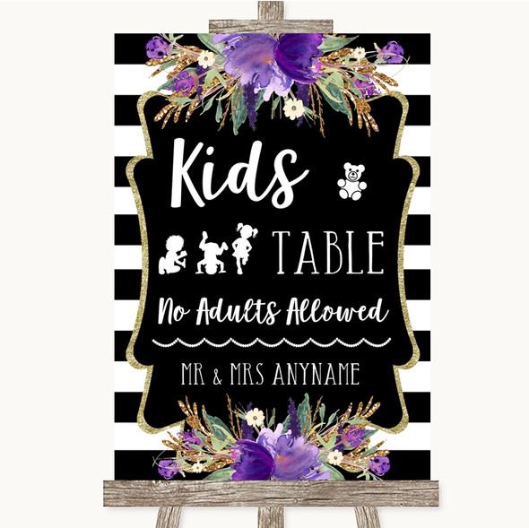 Black & White Stripes Purple Kids Table Personalised Wedding Sign