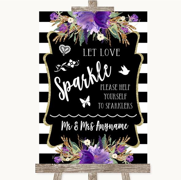 Black & White Stripes Purple Let Love Sparkle Sparkler Send Off Wedding Sign