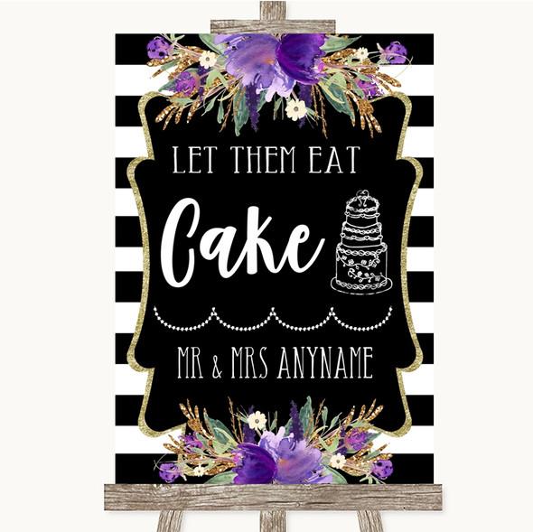 Black & White Stripes Purple Let Them Eat Cake Personalised Wedding Sign
