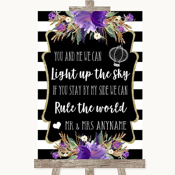 Black & White Stripes Purple Light Up The Sky Rule The World Wedding Sign