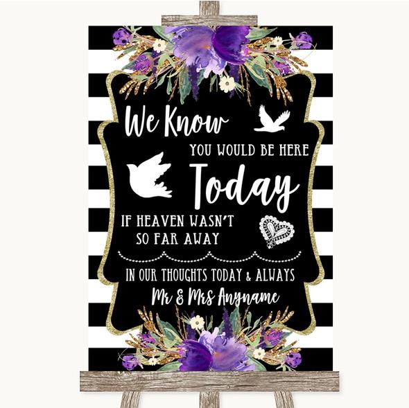 Black & White Stripes Purple Loved Ones In Heaven Personalised Wedding Sign