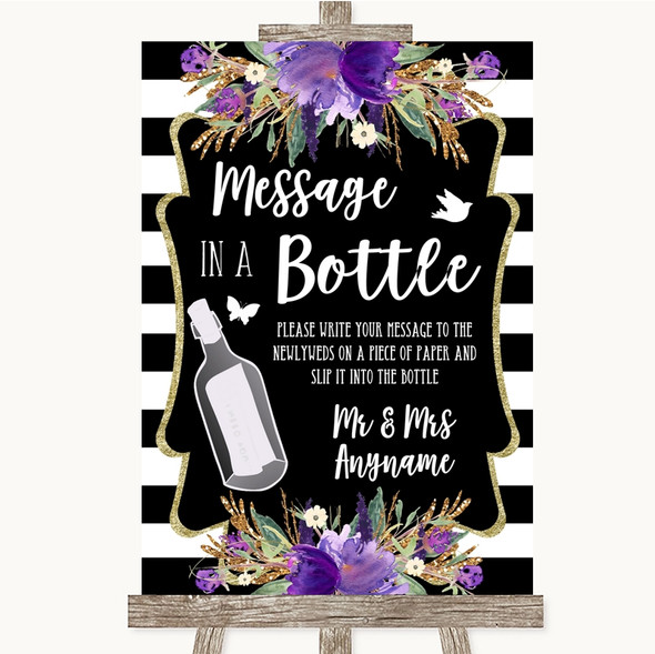 Black & White Stripes Purple Message In A Bottle Personalised Wedding Sign