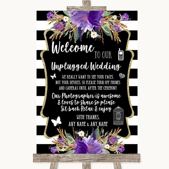 Black & White Stripes Purple No Phone Camera Unplugged Personalised Wedding Sign