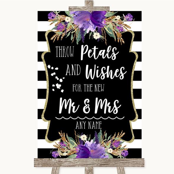 Black & White Stripes Purple Petals Wishes Confetti Personalised Wedding Sign