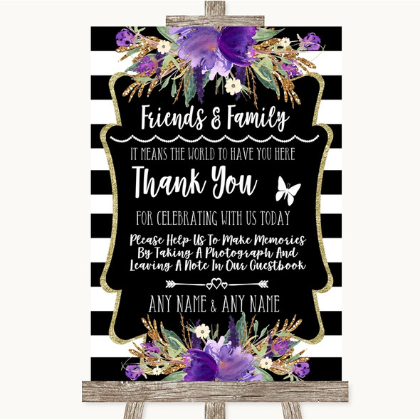 Black & White Stripes Purple Photo Guestbook Friends & Family Wedding Sign