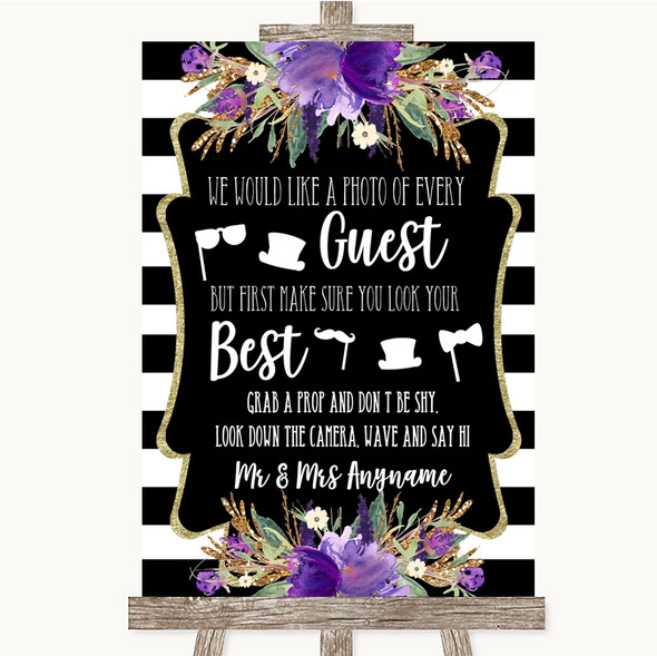 Black & White Stripes Purple Photo Prop Guestbook Personalised Wedding Sign