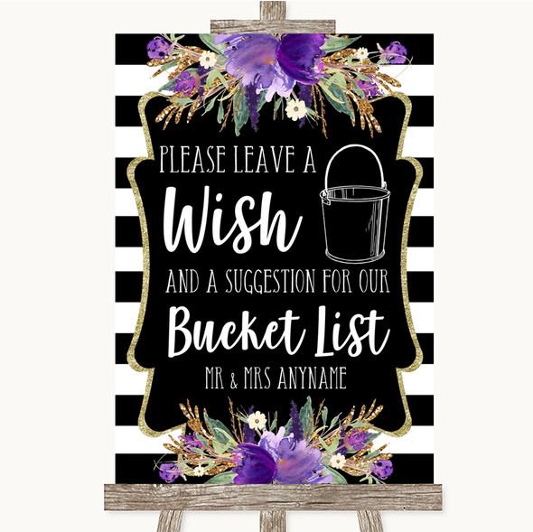 Black & White Stripes Purple Bucket List Personalised Wedding Sign