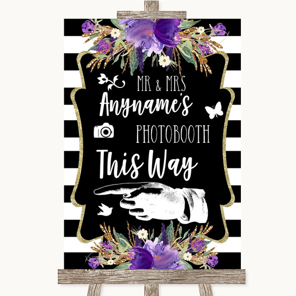 Black & White Stripes Purple Photobooth This Way Left Personalised Wedding Sign
