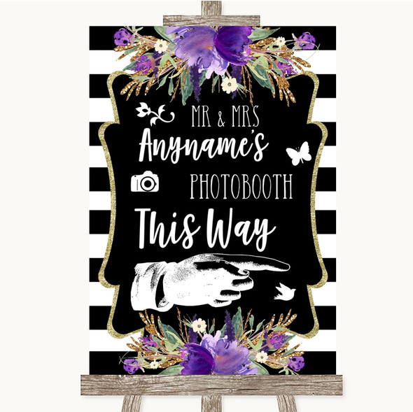 Black & White Stripes Purple Photobooth This Way Right Personalised Wedding Sign