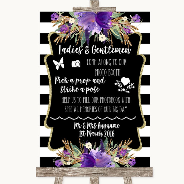 Black & White Stripes Purple Pick A Prop Photobooth Personalised Wedding Sign