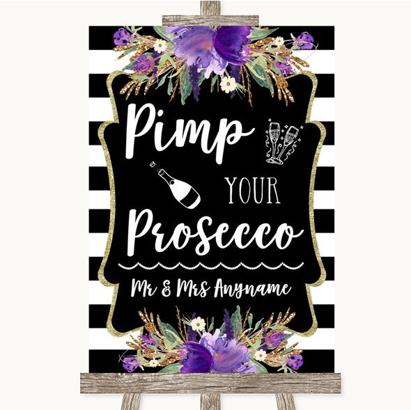 Black & White Stripes Purple Pimp Your Prosecco Personalised Wedding Sign