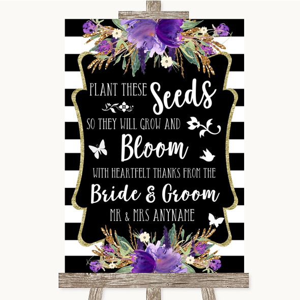 Black & White Stripes Purple Plant Seeds Favours Personalised Wedding Sign