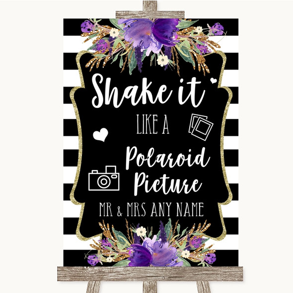 Black & White Stripes Purple Polaroid Picture Personalised Wedding Sign
