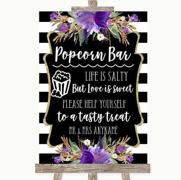 Black & White Stripes Purple Popcorn Bar Personalised Wedding Sign