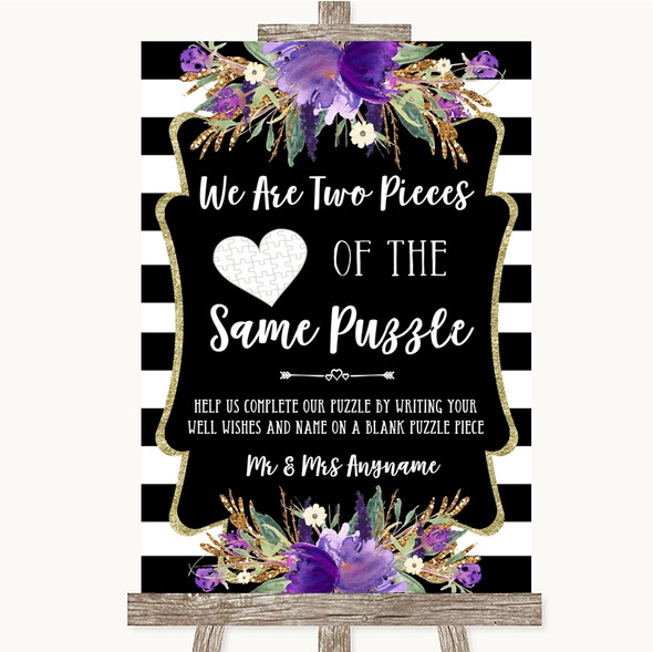 Black & White Stripes Purple Puzzle Piece Guest Book Personalised Wedding Sign
