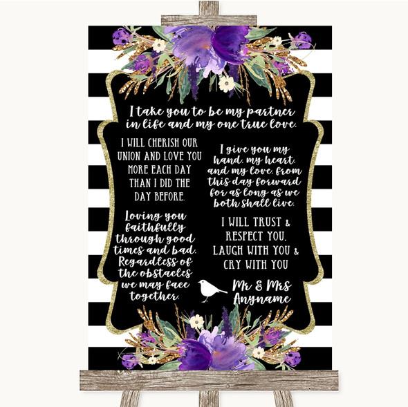 Black & White Stripes Purple Romantic Vows Personalised Wedding Sign