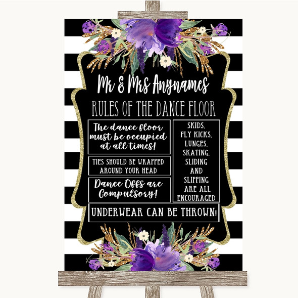 Black & White Stripes Purple Rules Of The Dance Floor Personalised Wedding Sign