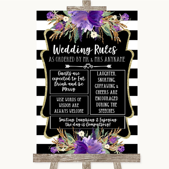 Black & White Stripes Purple Rules Of The Wedding Personalised Wedding Sign