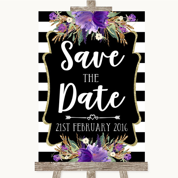 Black & White Stripes Purple Save The Date Personalised Wedding Sign