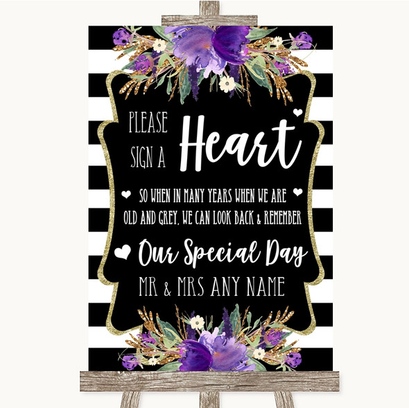 Black & White Stripes Purple Sign a Heart Personalised Wedding Sign