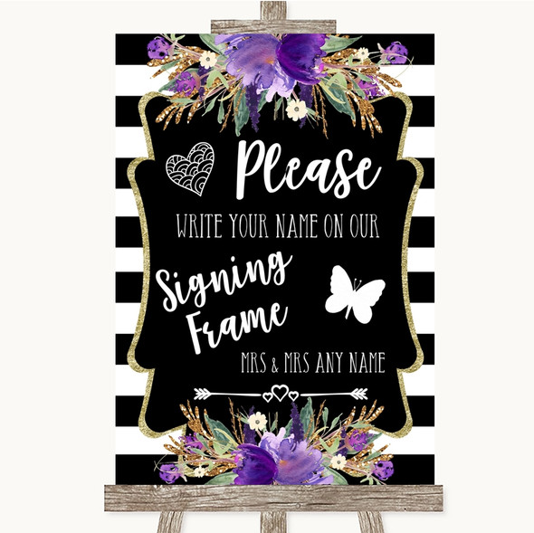 Black & White Stripes Purple Signing Frame Guestbook Personalised Wedding Sign
