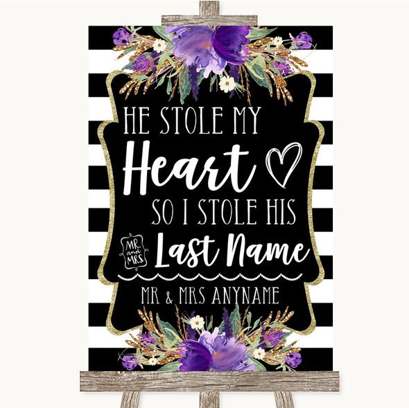 Black & White Stripes Purple Stole Last Name Personalised Wedding Sign