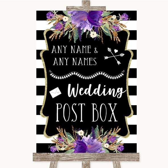Black & White Stripes Purple Card Post Box Personalised Wedding Sign