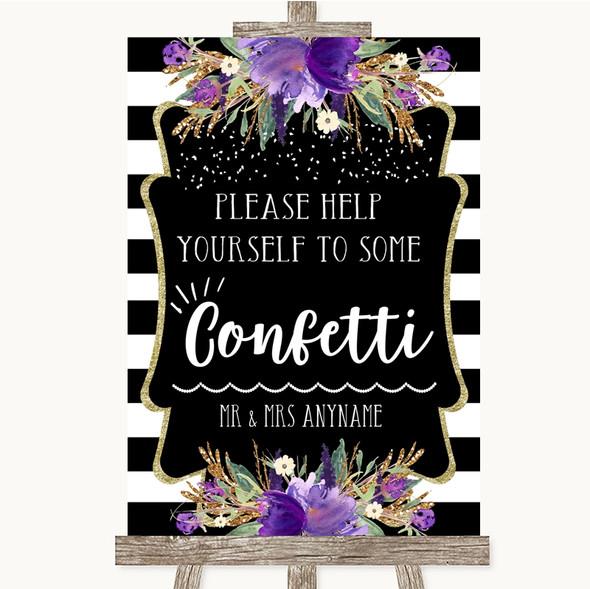 Black & White Stripes Purple Take Some Confetti Personalised Wedding Sign