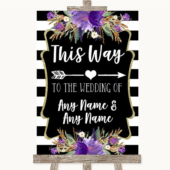 Black & White Stripes Purple This Way Arrow Right Personalised Wedding Sign