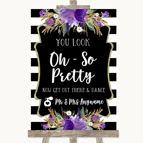 Black & White Stripes Purple Toilet Get Out & Dance Personalised Wedding Sign