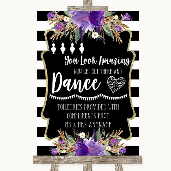 Black & White Stripes Purple Toiletries Comfort Basket Personalised Wedding Sign