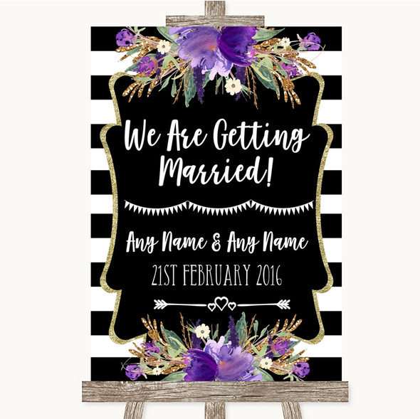 Black & White Stripes Purple We Are Getting Married Personalised Wedding Sign