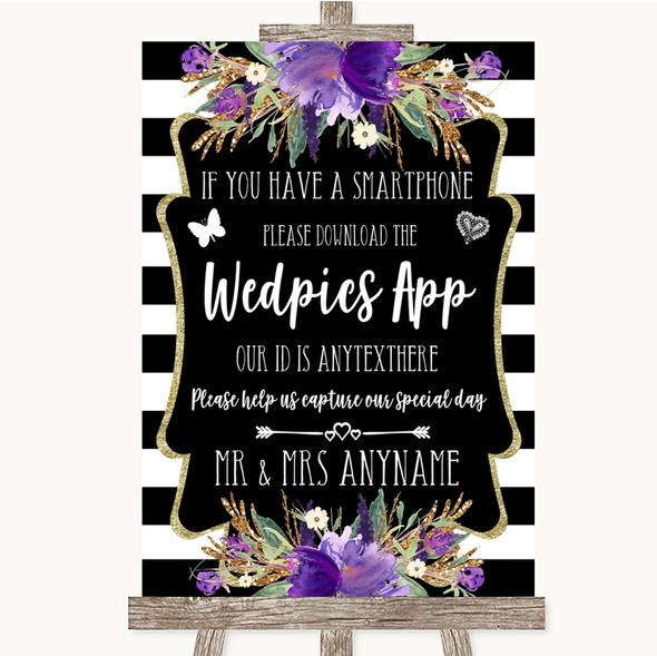 Black & White Stripes Purple Wedpics App Photos Personalised Wedding Sign