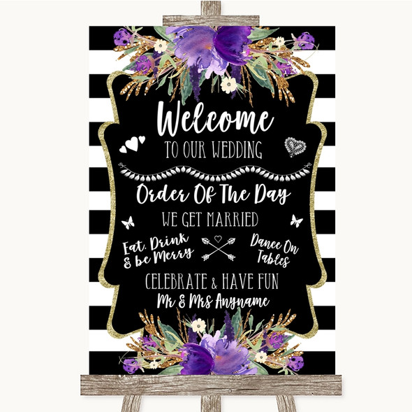 Black & White Stripes Purple Welcome Order Of The Day Personalised Wedding Sign