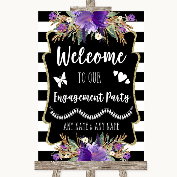 Black & White Stripes Purple Welcome To Our Engagement Party Wedding Sign