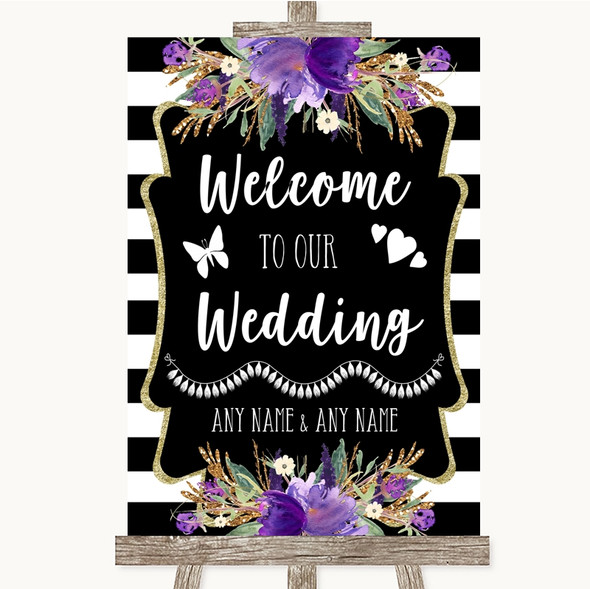 Black & White Stripes Purple Welcome To Our Wedding Personalised Wedding Sign