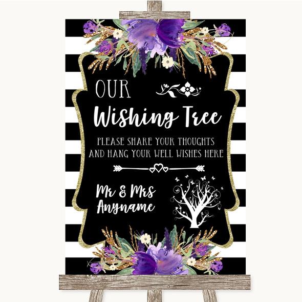 Black & White Stripes Purple Wishing Tree Personalised Wedding Sign