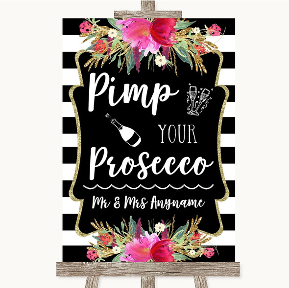 Black & White Stripes Pink Pimp Your Prosecco Personalised Wedding Sign
