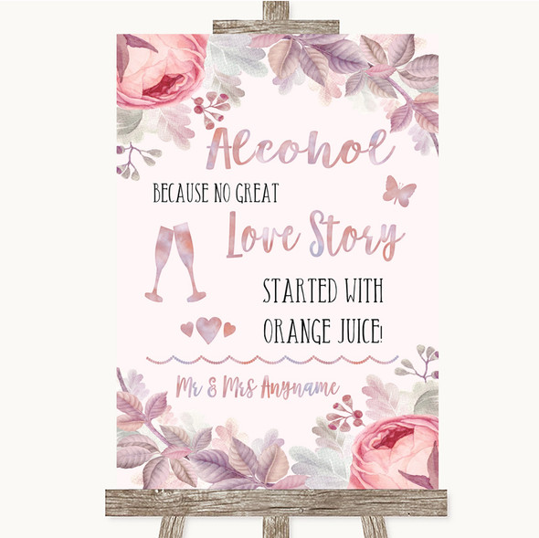 Blush Rose Gold & Lilac Alcohol Bar Love Story Personalised Wedding Sign